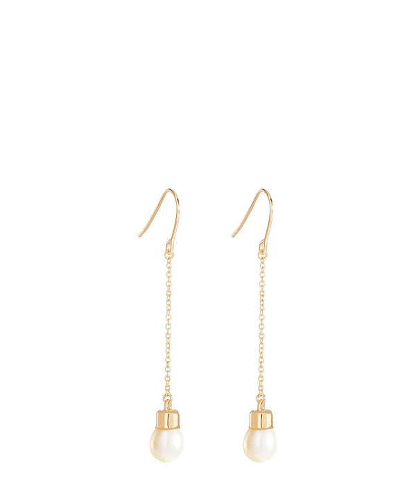 'Romy' Gold Plated Sterling Silver Hanging Pearl Earrings image 1