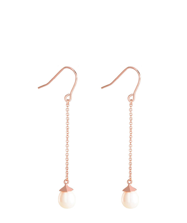 'Eleonore' Rose Gold Plated Sterling Silver Hanging Pearl Earrings image 1