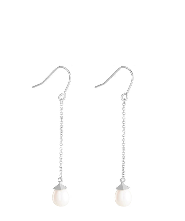 'Eleonore' Sterling Silver Hanging Pearl Earrings image 1