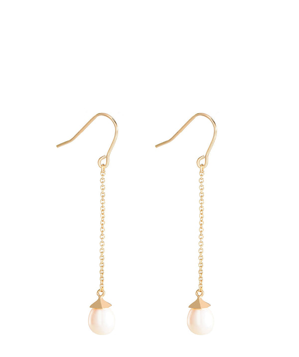 'Eleonore' Gold Plated Sterling Silver Hanging Pearl Earrings image 1