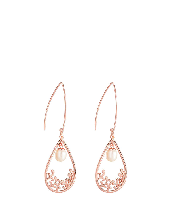 'Antoinette' Rose Gold Plated Sterling Silver Teardrop Pearl Earrings image 1