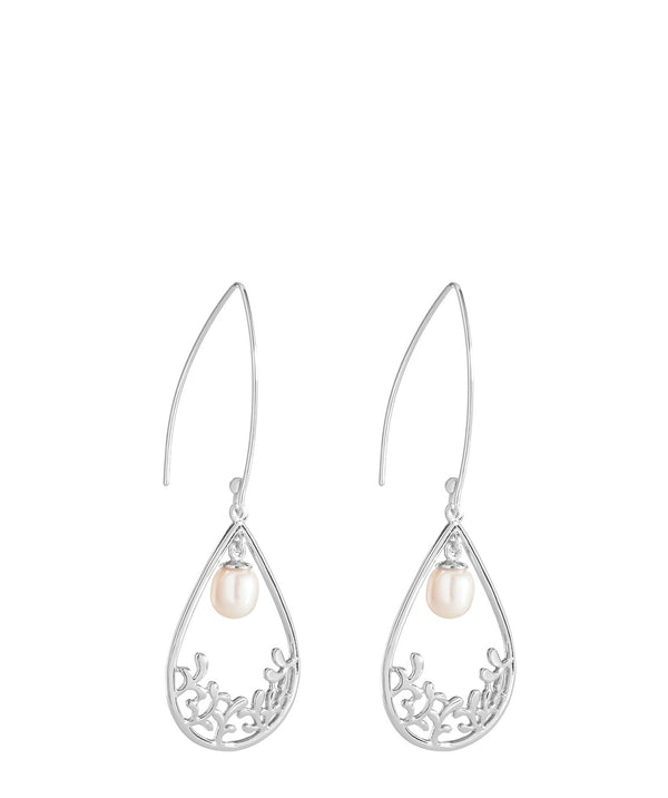 'Antoinette' Sterling Silver Teardrop Pearl Earrings image 1