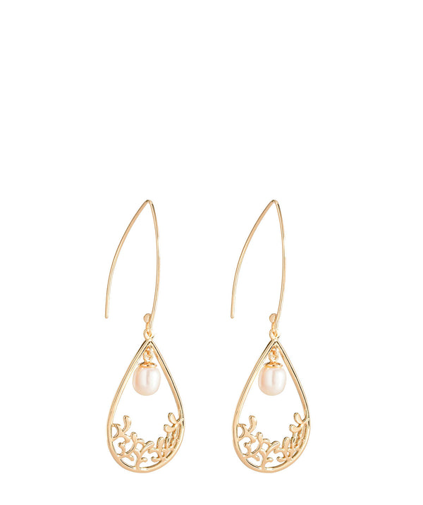 'Antoinette' Gold Plated Sterling Silver Teardrop Pearl Earrings image 1