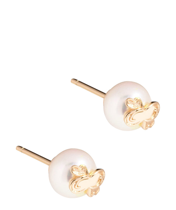 'Dreux' Yellow Gold Plated Sterling Silver & Pearl Stud Earrings image 1