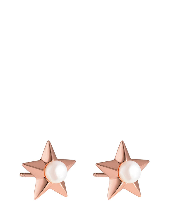 'Assia' Rose Gold Plated Sterling Silver and Pearl Star Earrings image 1
