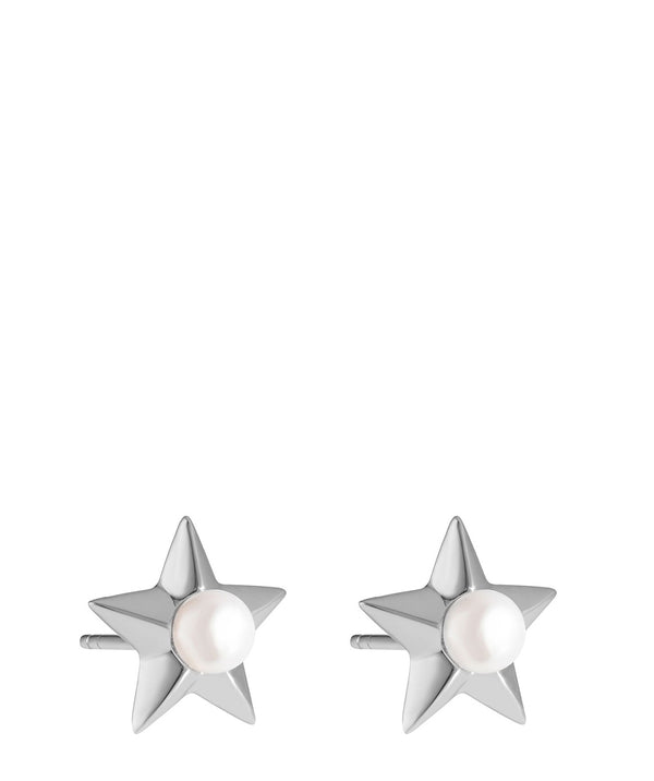 'Assia' Sterling Silver and Pearl Star Earrings image 1