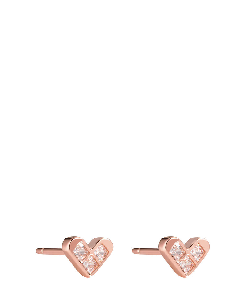 'Jeanne' Rose Gold Plated Sterling Silver and Crystal Heart Earrings image 1