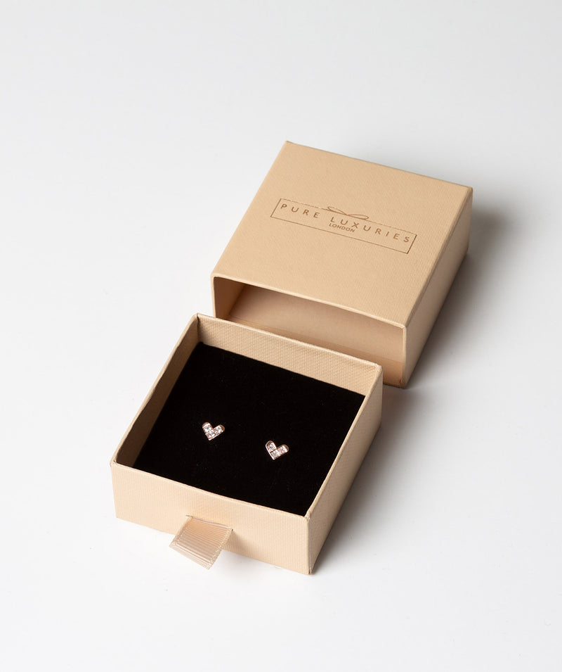 'Jeanne' Rose Gold Plated Sterling Silver and Crystal Heart Earrings image 3