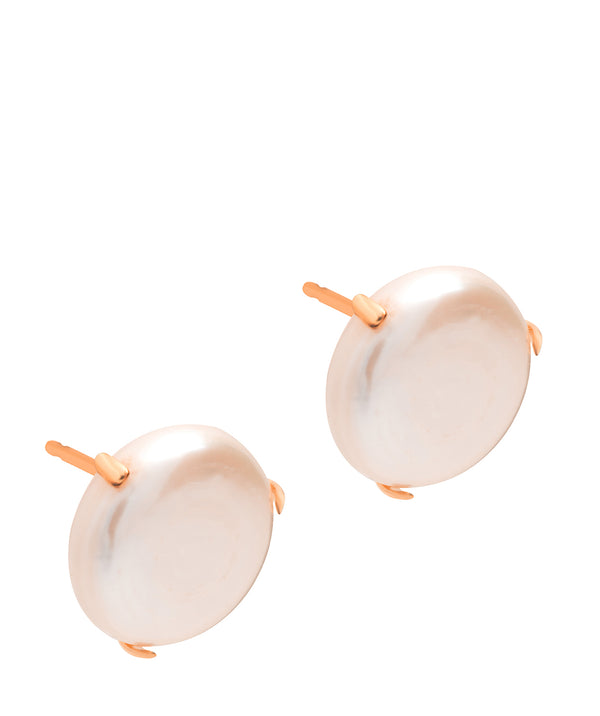 Gift Packaged 'Enora' 18ct Rose Gold Plated Sterling Silver Shell Pearl Earrings