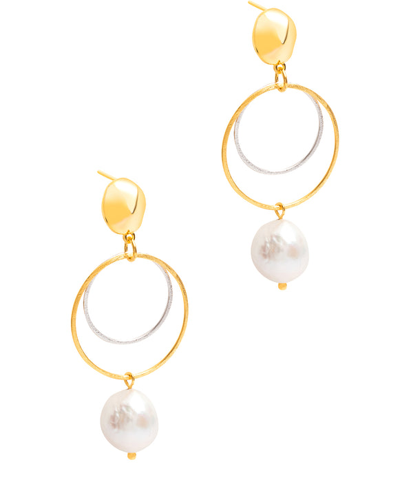 Gift Packaged 'Matilde' 18ct Yellow Gold Plated Sterling Silver Freshwater Pearl Earrings