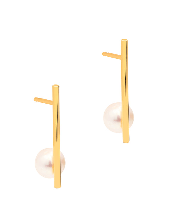 Gift Packaged 'Susan' 18ct Yellow Gold Plated Sterling Silver Bar Freshwater Pearl Earrings