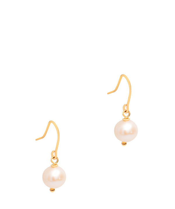 Gift Packaged 'Mendes' 18ct Yellow Gold Plated Sterling Silver Classic Freshwater Pearl Drop Earrings