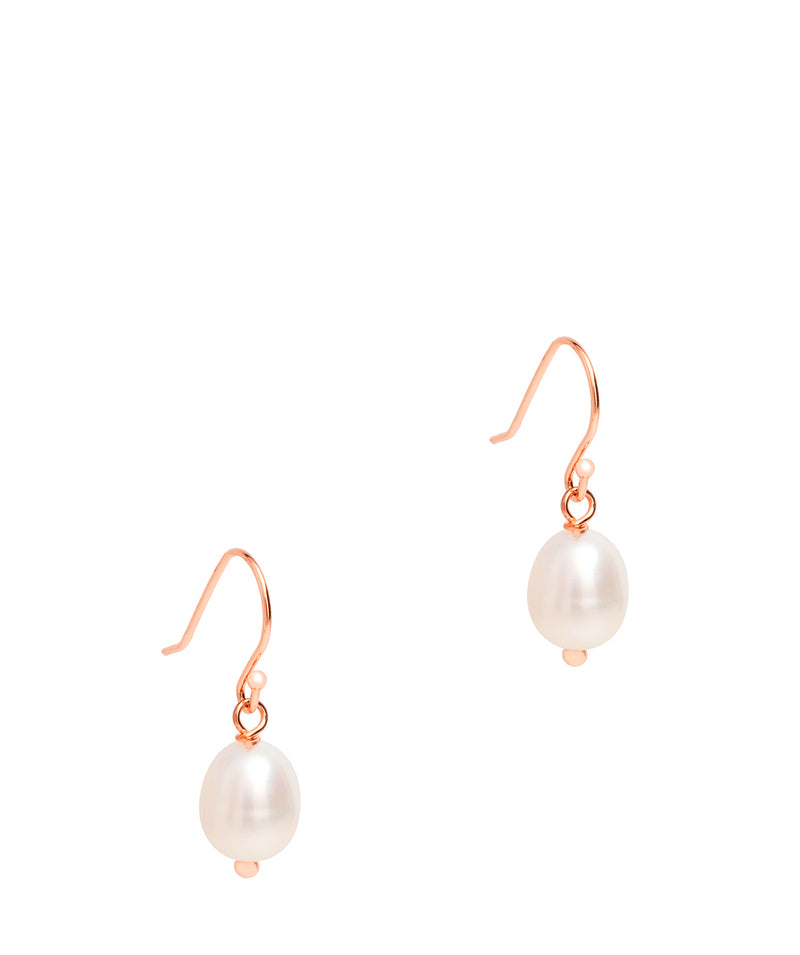 Gift Packaged 'Lucero' 18ct Rose Gold Plated Sterling Silver Ringed Baroque Freshwater Pearl Drop Pearl Earrings