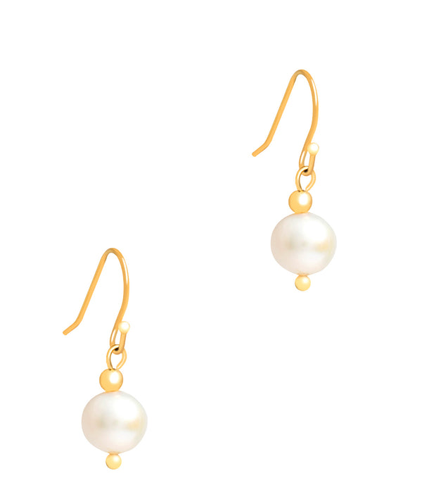Gift Packaged 'Linda' 18ct Yellow Gold Plated Sterling Silver & Freshwater Pearl Drop Earrings