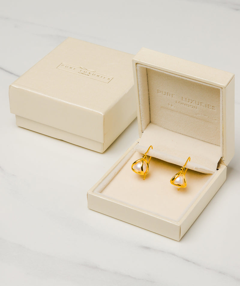 Gift Packaged 'Sandra' 18ct Yellow Gold Plated Sterling Silver Caged Freshwater Pearl Earrings