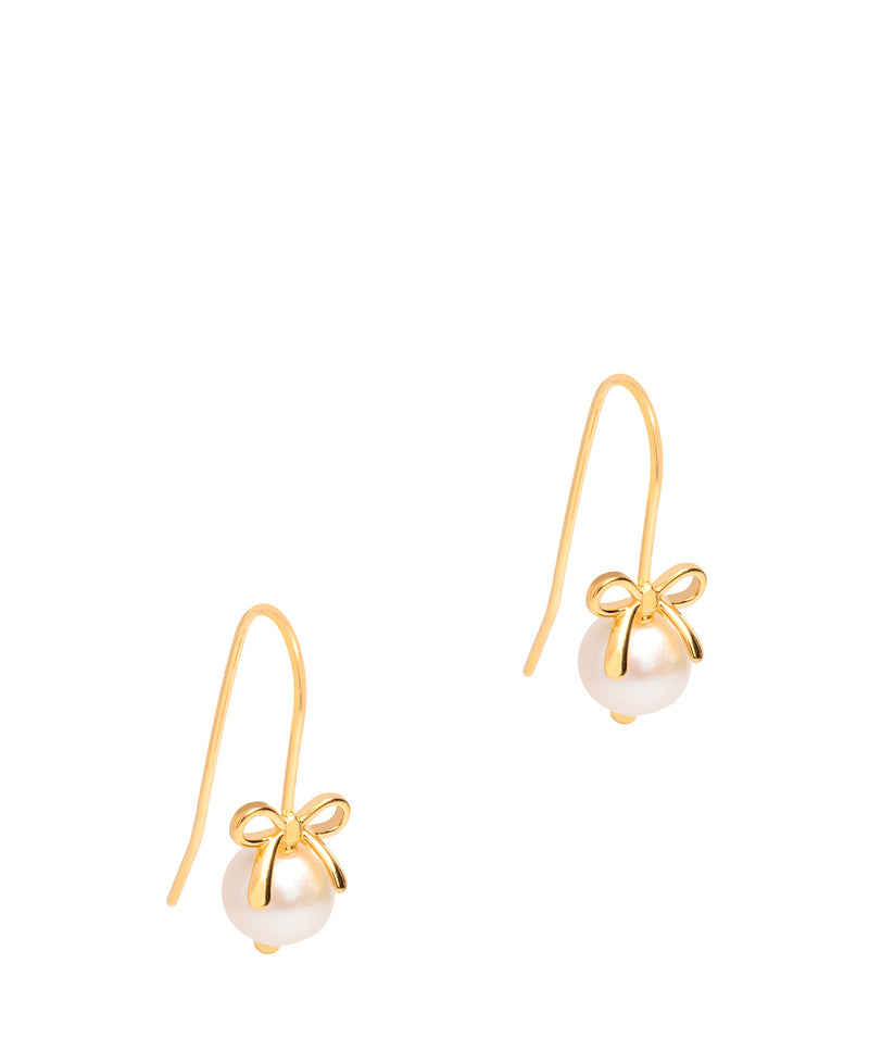 Gift Packaged 'Gertrude' 18ct Yellow Gold Plated Sterling Silver Bow Freshwater Pearl Earrings
