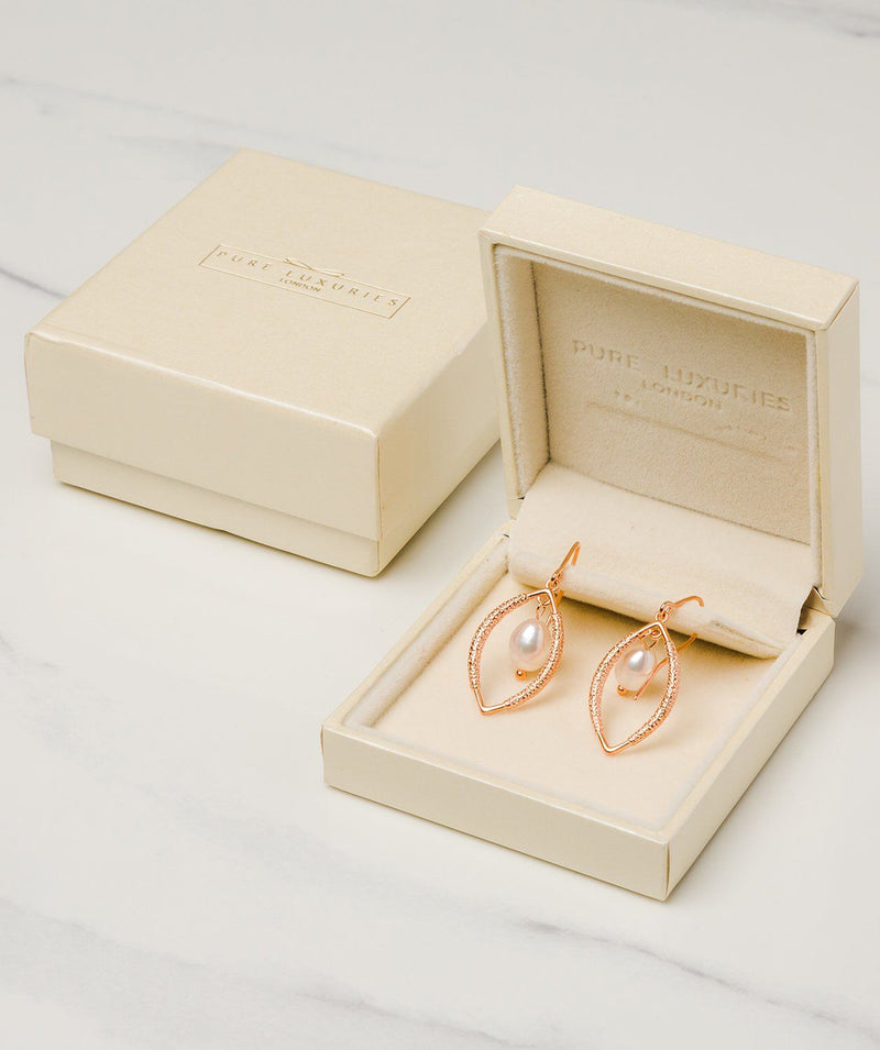 Gift Packaged 'Dorothy' 18ct Rose Gold Plated Sterling Silver Teardrop Framed Freshwater Pearl Earrings