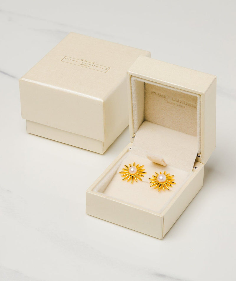 Gift Packaged 'Valerie' 18ct Yellow Gold Plated Sterling Silver Freshwater Pearl Sunburst Earrings