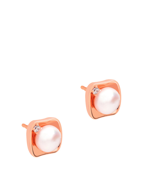 Gift Packaged 'Thandie' 18ct Rose Gold Plated Sterling Silver Freshwater Pearl Square Design Earrings