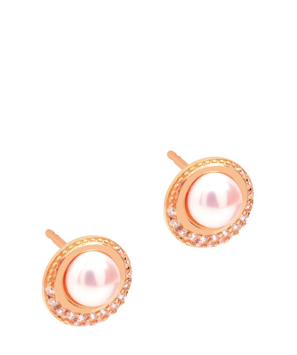 Gift Packaged 'Carlotta' 18ct Rose Gold Plated Sterling Silver Freshwater Pearl and Cubic Zirconia Stud Earrings