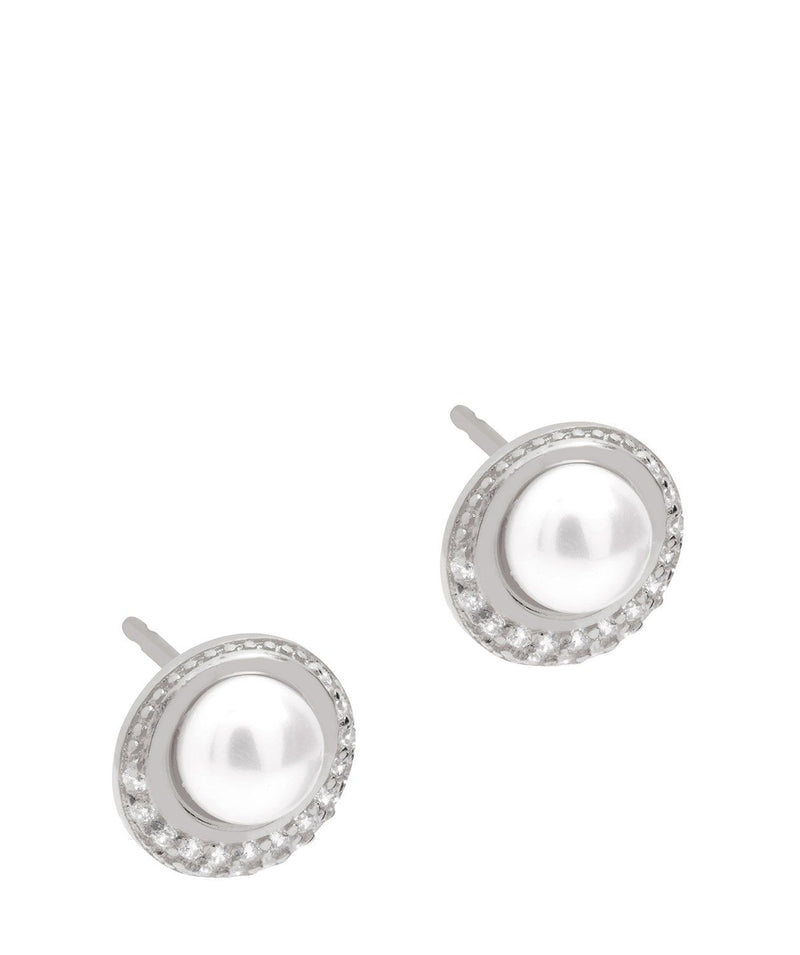 Gift Packaged 'Carlotta' Sterling Silver Freshwater Pearl and Cubic Zirconia Stud Earrings