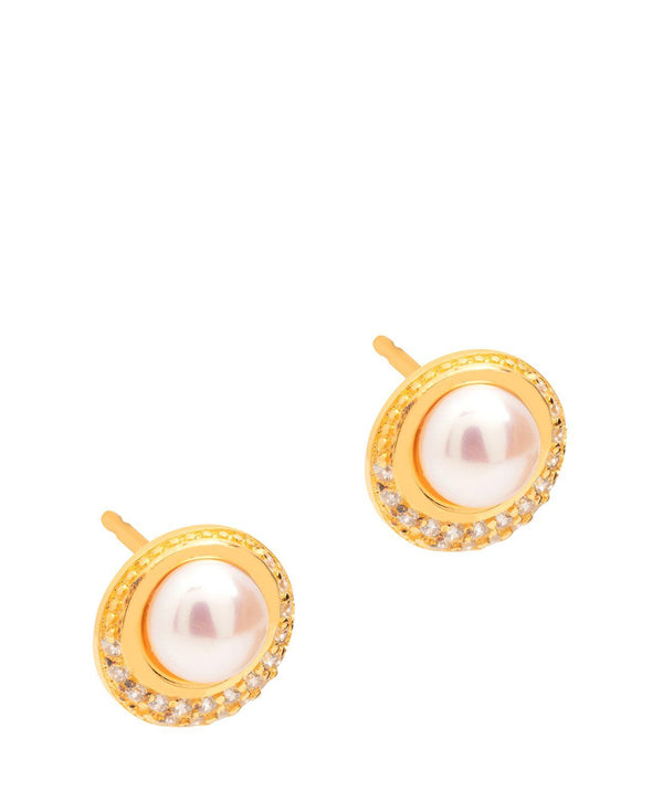 Gift Packaged 'Carlotta' 18ct Yellow Gold Plated Sterling Silver Freshwater Pearl and Cubic Zirconia Stud Earrings