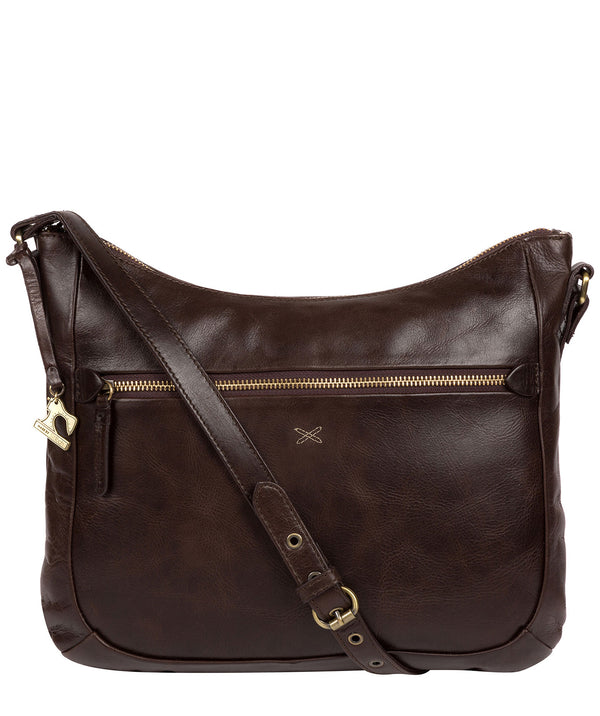 'Kay' Dark Chocolate Leather Cross Body Bag image 1