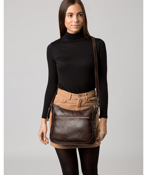 'Kay' Dark Chocolate Leather Cross Body Bag image 2