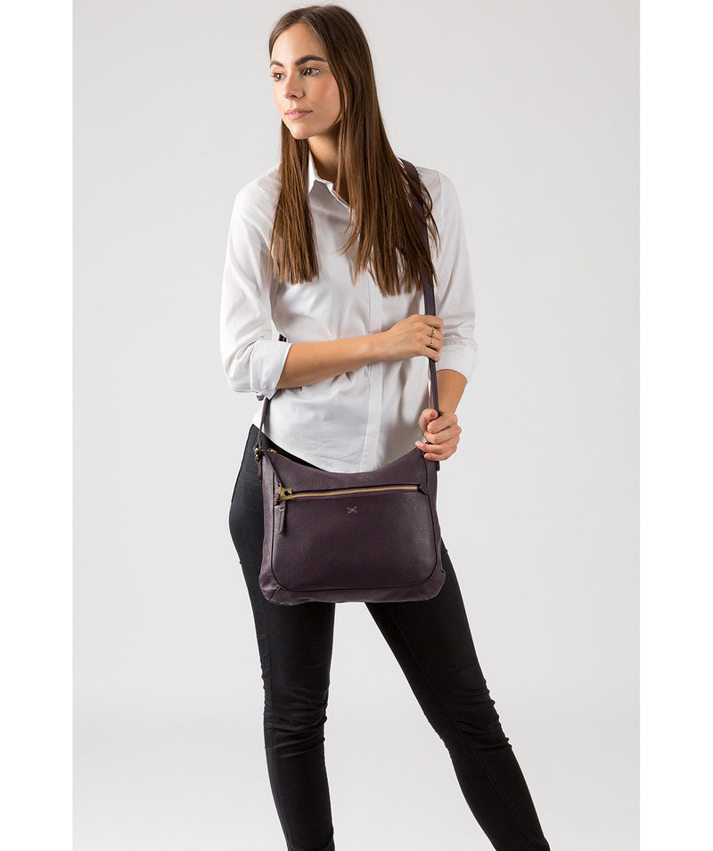 'Kay' Plum Leather Cross Body Bag image 2