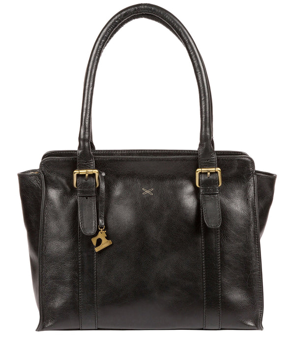 'Scarlett' Ebony Leather Handbag Pure Luxuries London