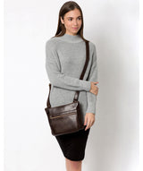 'Victoria' Dark Chocolate Leather Cross Body Bag image 2