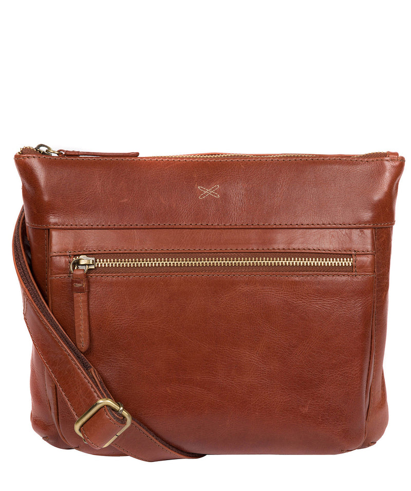 'Victoria' Whiskey Leather Cross Body Bag image 1