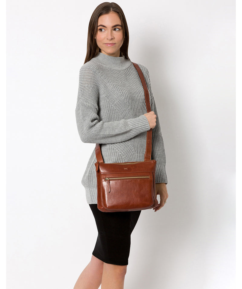 'Victoria' Whiskey Leather Cross Body Bag image 2