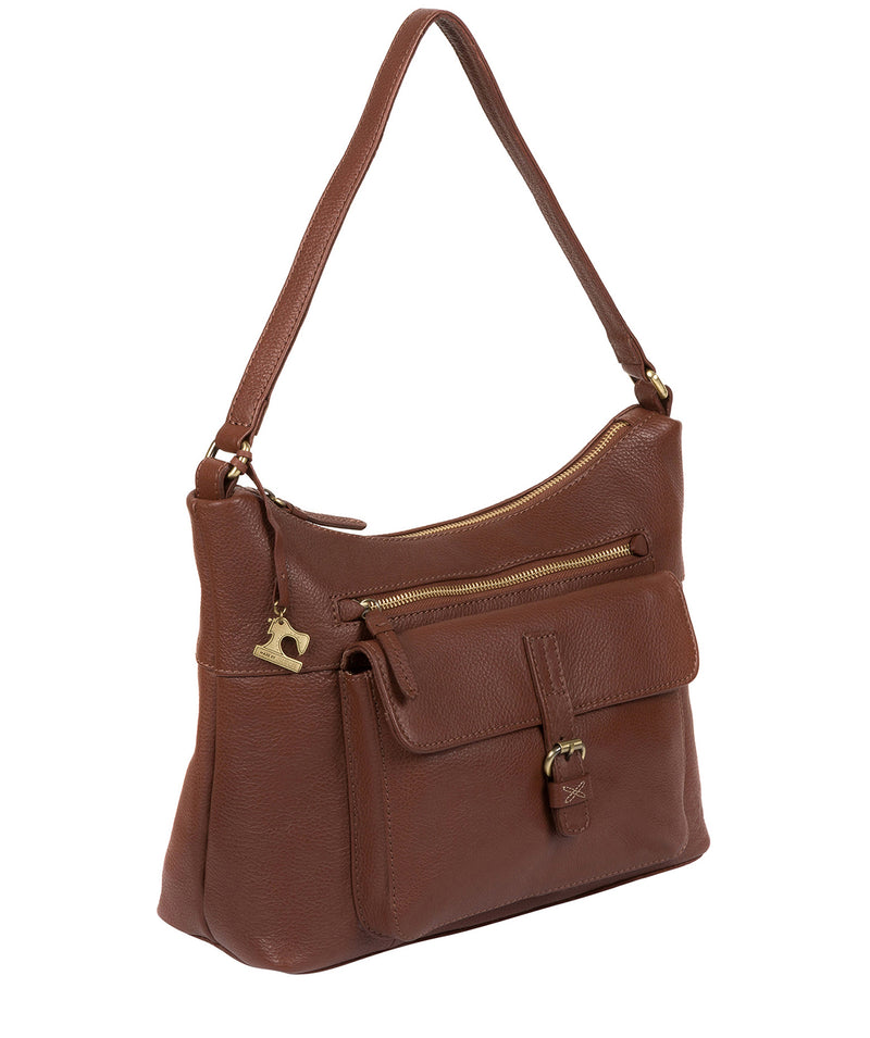 'Laura' Cognac Leather Shoulder Bag image 3