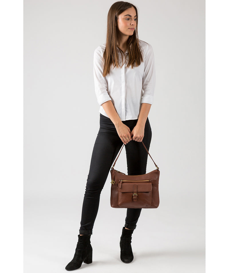 'Laura' Cognac Leather Shoulder Bag image 7