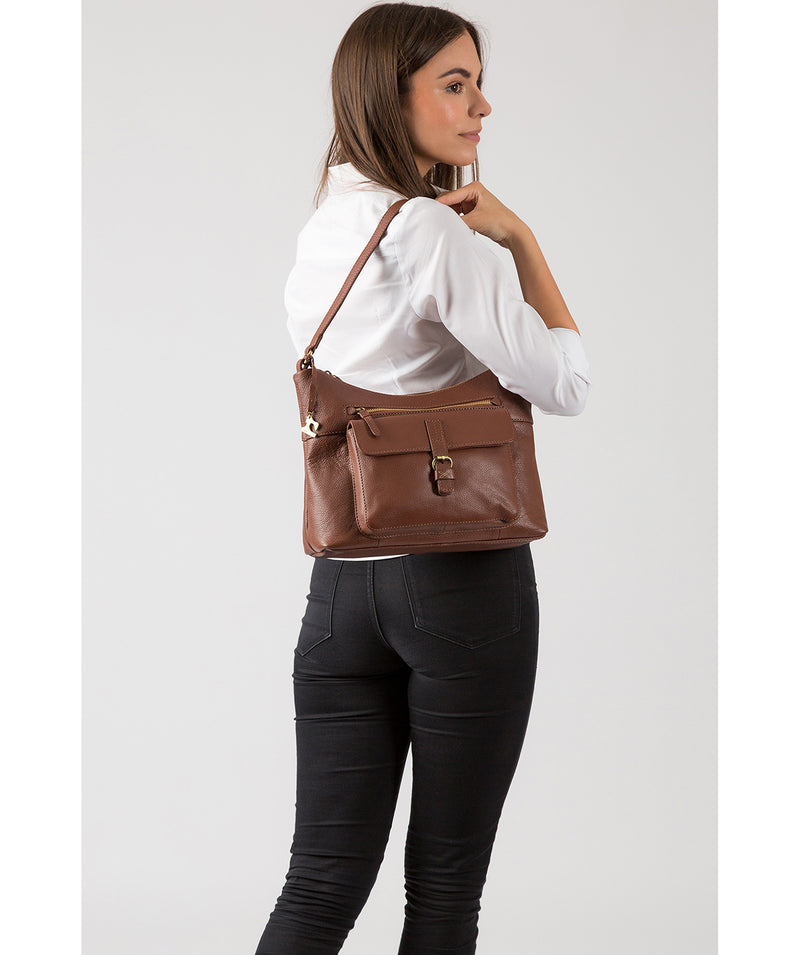 'Laura' Cognac Leather Shoulder Bag image 2