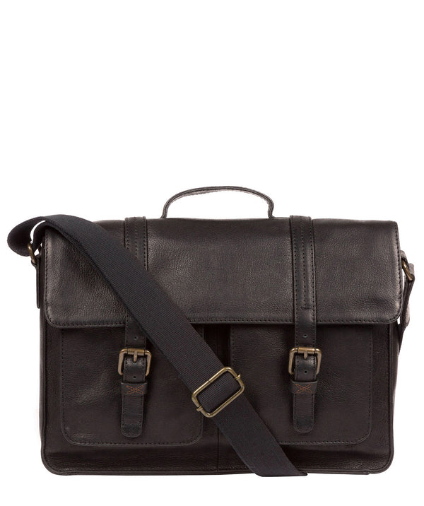 'Garsdale' Black Leather Briefcase Pure Luxuries London