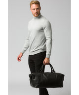 'Port' Black Leather Holdall image 7