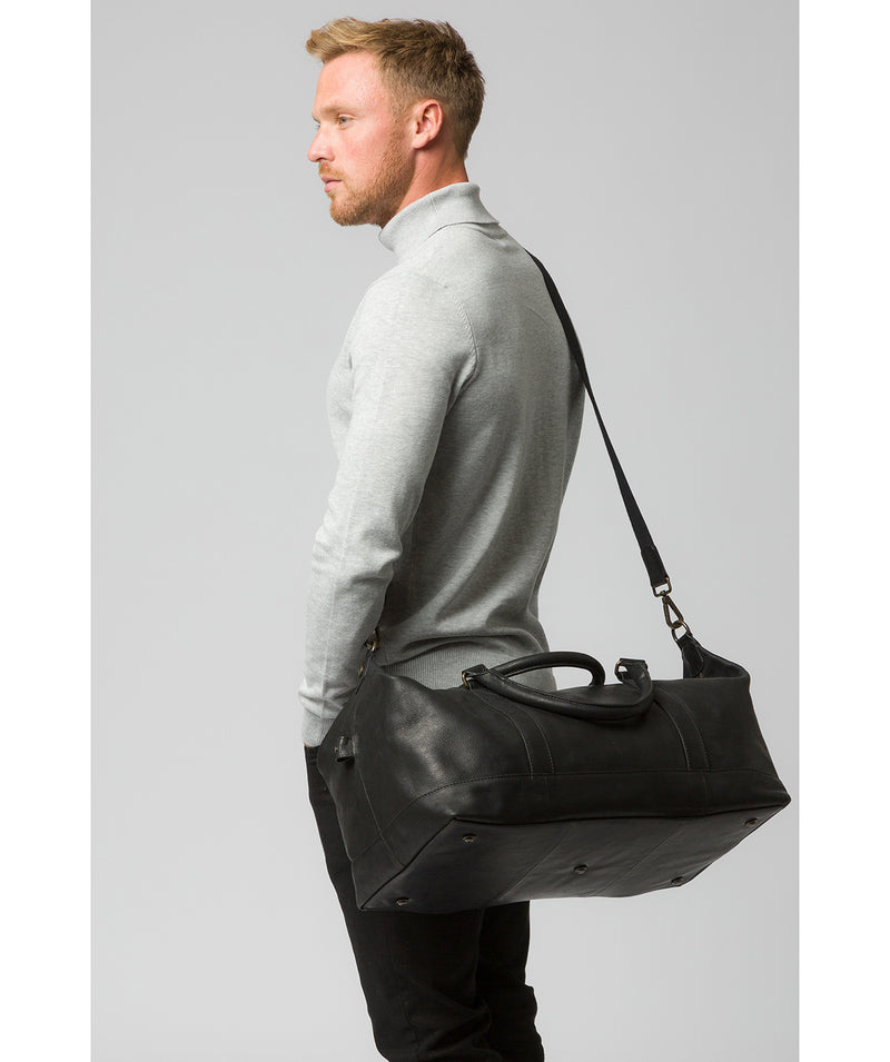 'Port' Black Leather Holdall image 2