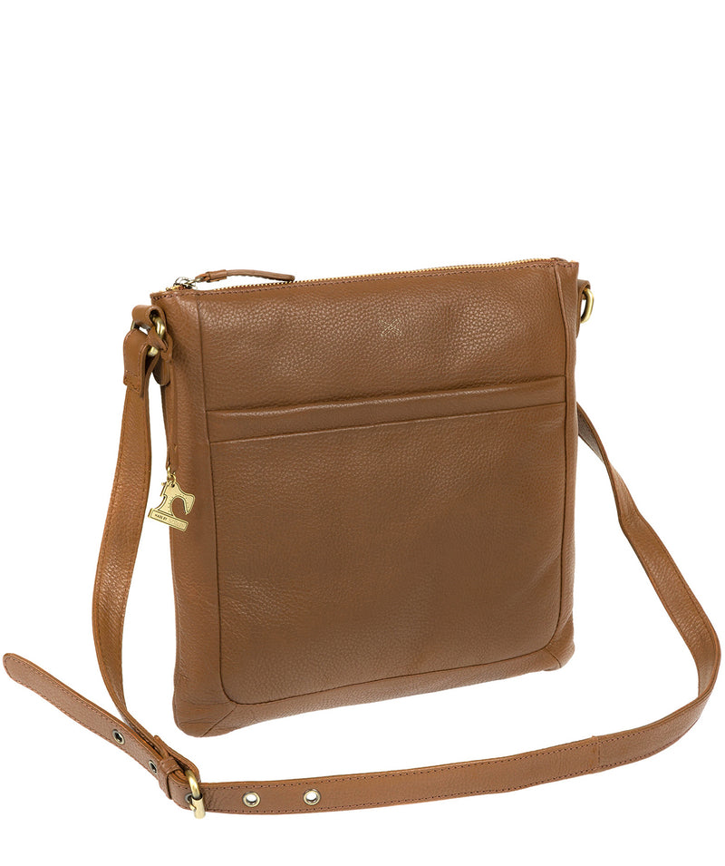 'Essie' Dark Tan Leather Cross Body Bag Pure Luxuries London