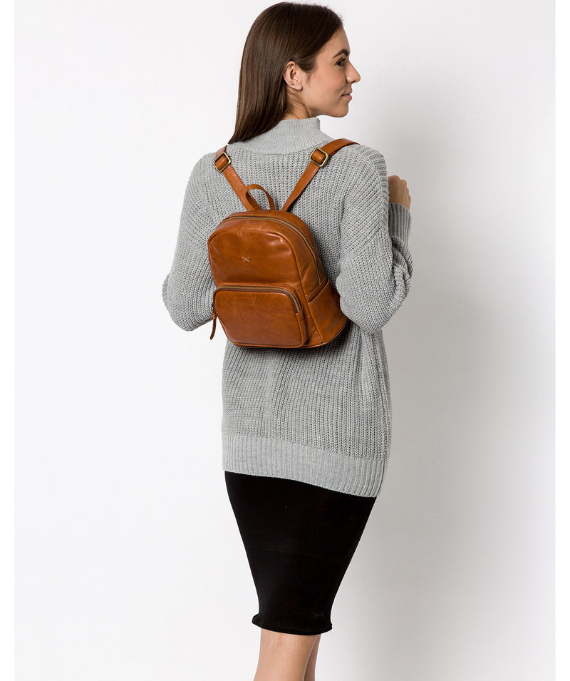 'Greer' Bourbon Leather Backpack image 2
