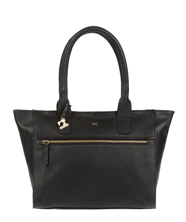 'Quinn' Black Leather Tote Bag