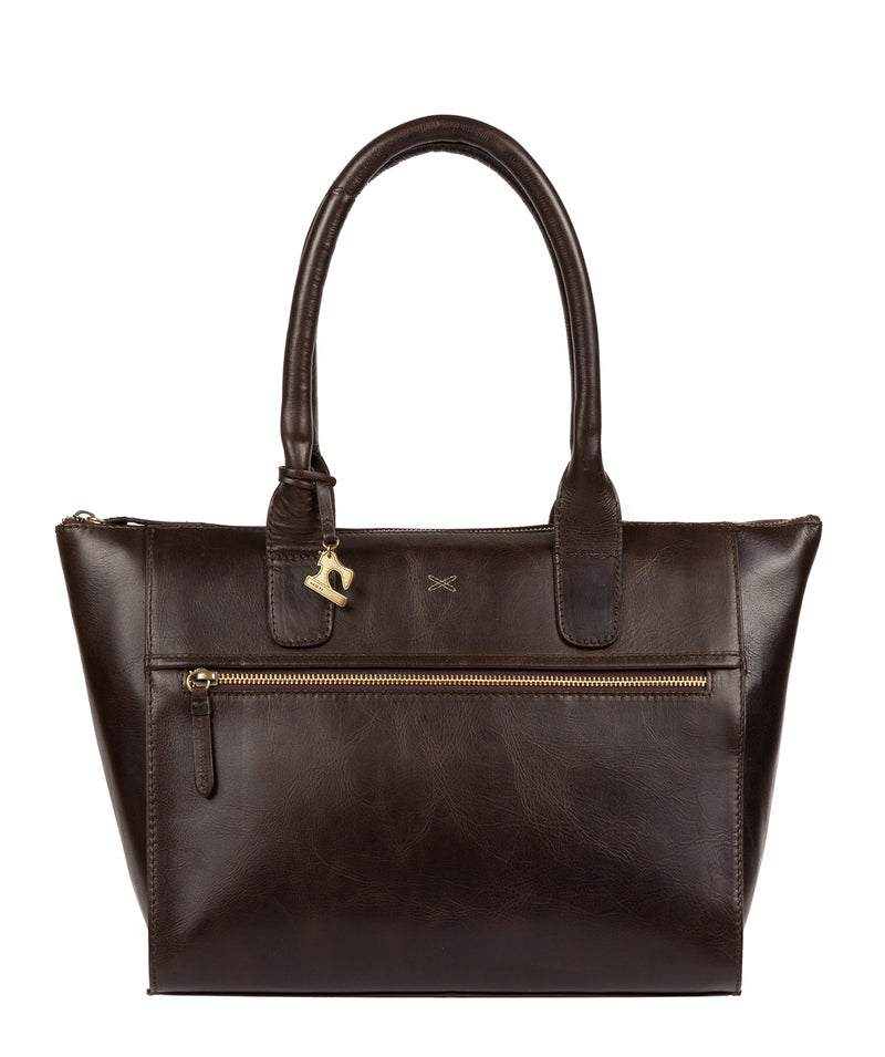 'Quinn' Dark Chocolate Leather Tote Bag