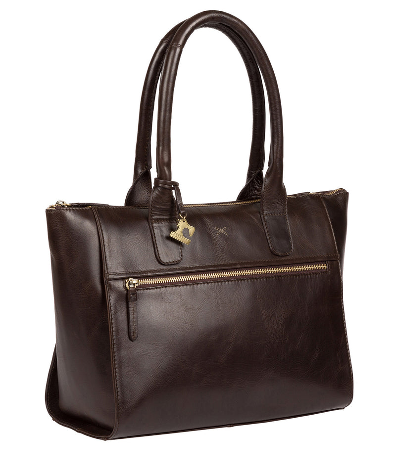 'Quinn' Dark Chocolate Leather Tote Bag image 3