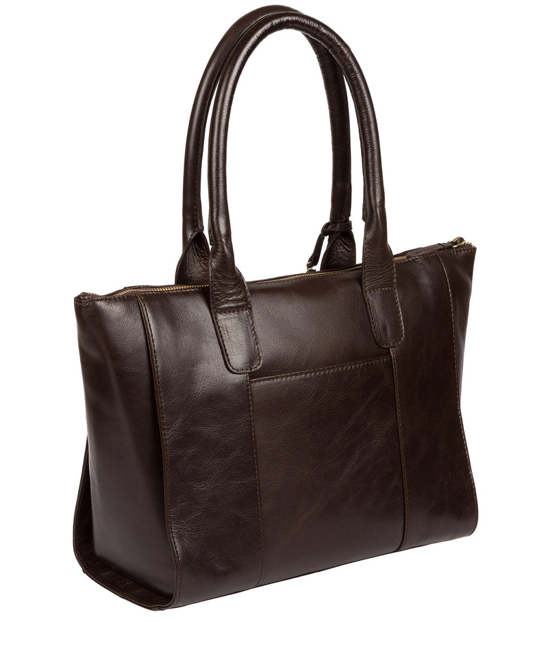 'Quinn' Dark Chocolate Leather Tote Bag image 4