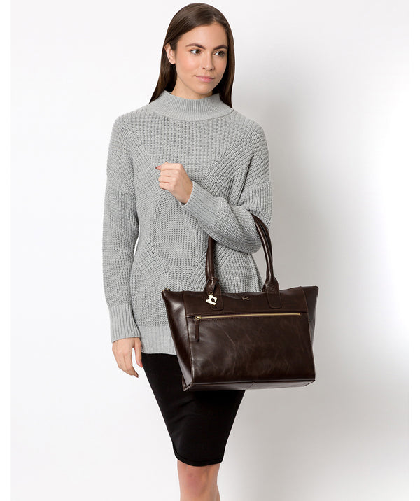 'Quinn' Dark Chocolate Leather Tote Bag Pure Luxuries London