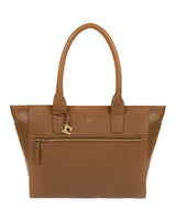 'Quinn' Dark Tan Leather Tote Bag