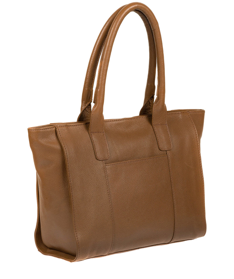 'Quinn' Dark Tan Leather Tote Bag image 5