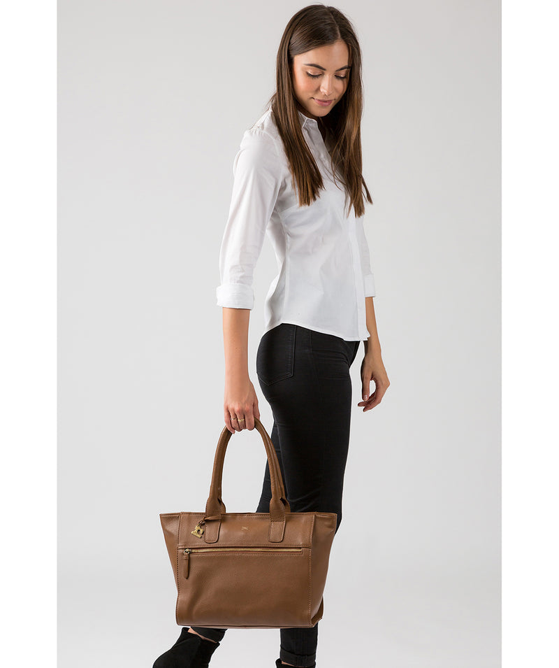 'Quinn' Dark Tan Leather Tote Bag image 7
