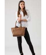 'Quinn' Dark Tan Leather Tote Bag Pure Luxuries London